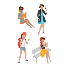 Set Summer Womens Characters vector image