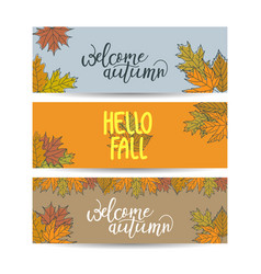 set three horizontal banners with tree leaves vector image
