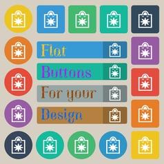 shopping bag icon sign Set of twenty colored flat vector image
