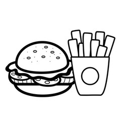 silhouette hamburger and fries french food icon vector image
