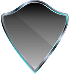 silver metallic shield icon vector image
