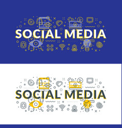social media flat line concept for web banner and vector image