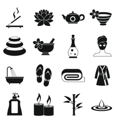 Spa treatments icons set simple style vector