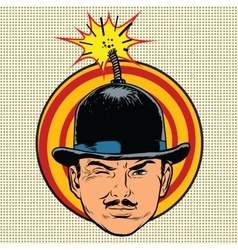 Spy terrorist in the hat bomb wick vector