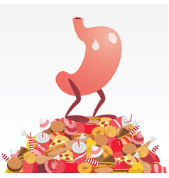 Stomach standing on a pile of fattening food vector