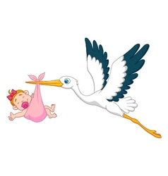 Stork with baby girl cartoon vector