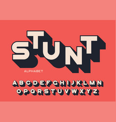 Styled sans serif bold letters with long shadow vector