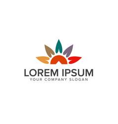sun leaf logo design concept template vector image