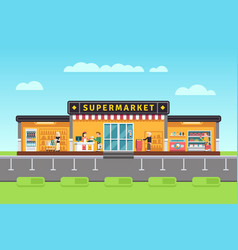 Supermarket store hypermarket building with vector