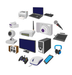 technology and devices cartoon icons set vector image