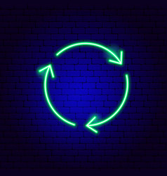 Three arrow circle neon sign vector