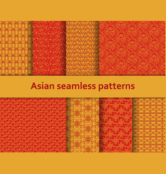 Traditional asian seamless patterns set vector