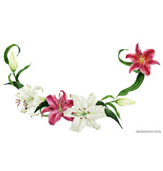 Tropical floral watercolor garland with oriental vector