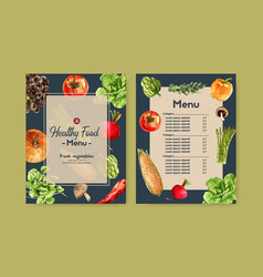 vegetable watercolor paint collection fresh food vector image