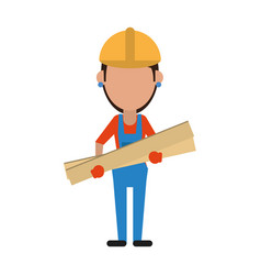 Woman building construction wooden boards vector
