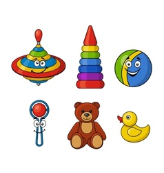 Brightly colored kids toys vector