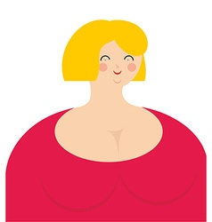 Cheerful woman Fat girl in pink dress with smile vector image