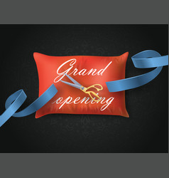 grand opening card with blue ribbon scissors on vector image vector image