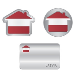 Home icon on the Latvia flag vector image vector image