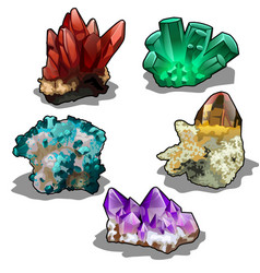 isolated set of five uncut precious mineral vector image vector image