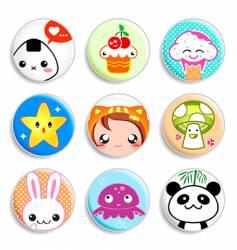 kawaii badges vector image