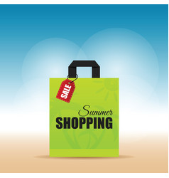 paper bag green with summer shopping on it vector image vector image