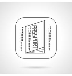 Passport icon flat line design icon vector image vector image