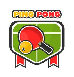 ping pong game colorful logotype with table and vector image vector image
