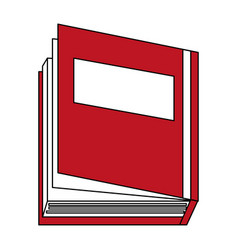 Sketch color silhouette top view semi opened book vector