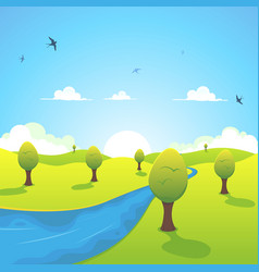 spring or summer river and flying swallows vector image vector image