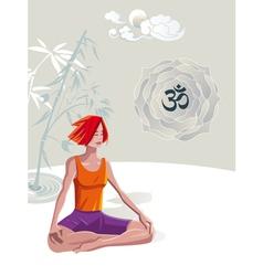 Woman Practicing Yoga Meditation vector image vector image