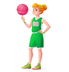 young redhead basketball player girl vector image
