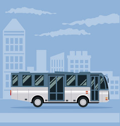Color poster city landscape with bus vehicle vector