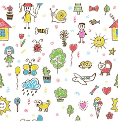 Hand drawn children drawings color seamless vector
