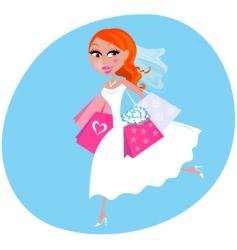 shopping bride vector image vector image