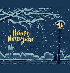 winter cityscape with cat on fence under lantern vector image