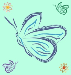 butterflies and flowers vector image vector image