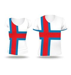 Flag shirt design of Faroe Islands vector image vector image