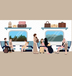 inside train business class situation people vector image