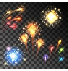 Festive bursting firework set vector image vector image