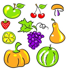 fruits vegetables berries vector image vector image