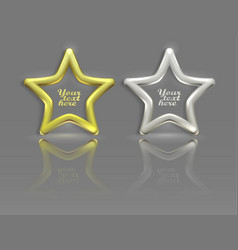 Gold and silver stars with reflection vector