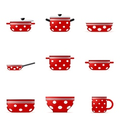 Set of icons of red cookware in white point vector image