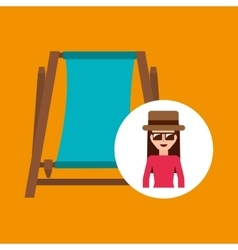 toursit female hat sunglasses beach chair vector image