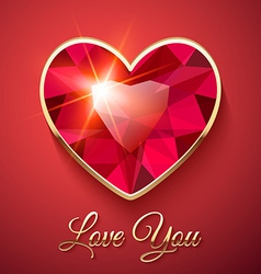 Valentines Day Card with Red Gemstone vector image
