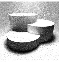 3D pedestal made with dotwork style vector