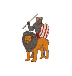 African warrior spear hunting with lion drawing vector