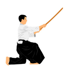 Aikido fighter demonstrate skill with katana vector