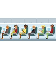 Aircraft passengers on flight vector