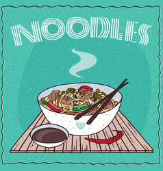 asian noodle soup with vegetables and chicken vector image